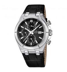 J667/4 Jaguar watch chronograph black dial black leather bracelet 44 mm