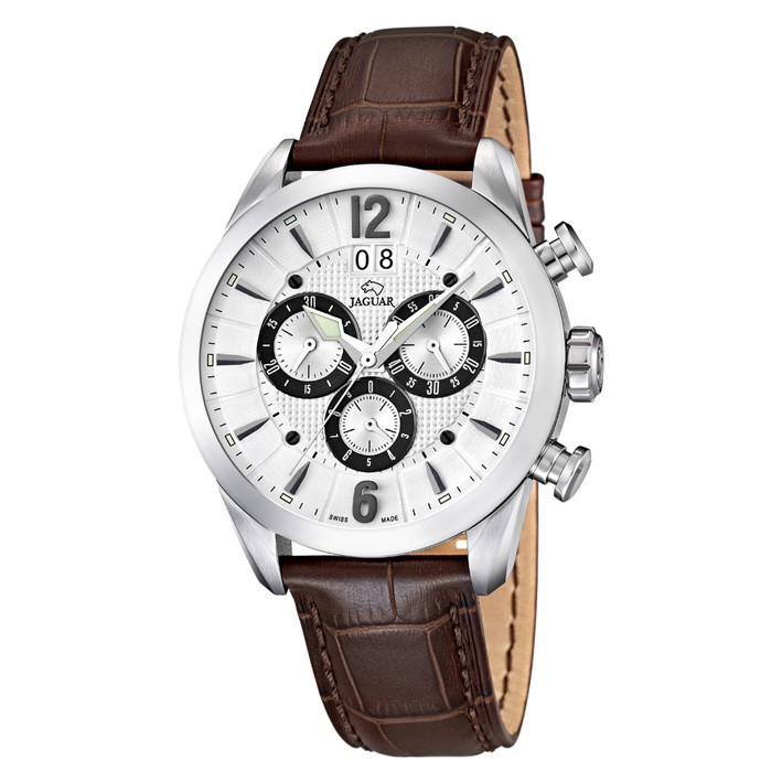 2c9fb3eb7a12 Reloj Jaguar cronógrafo hombre esfera blanca J661 1 correa piel color marrón