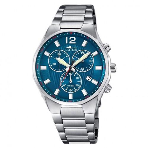 Man Lotus watch blue dial 45 mm stainless steel bracelet 10125/3