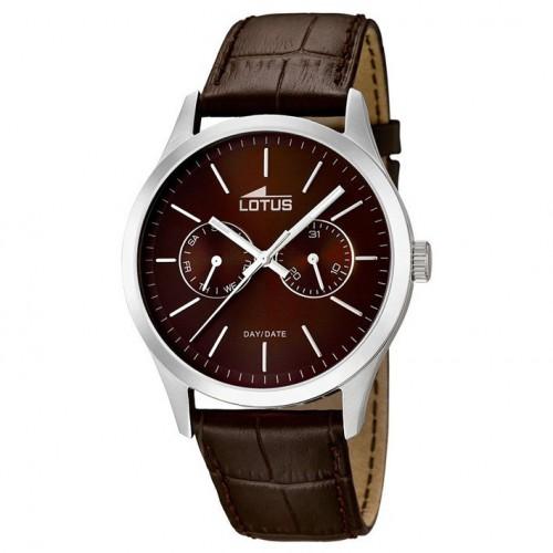 Lotus Minimalist multifunction watch brown dial brown leather strap 15956/2