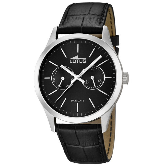 56a4ef0ac773 Multifunction watch Lotus Minimalist 15956/3 black dial black leather strap