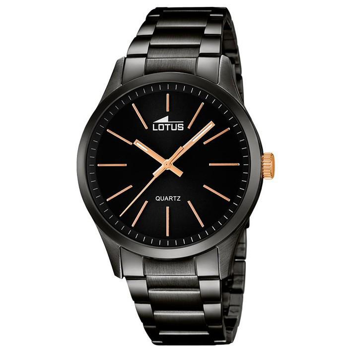 a62aaa0826ae Reloj Lotus hombre 18162 2 en color negro índices chapados oro rosa