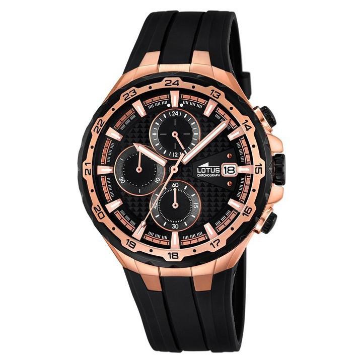 75cb8e897686 Reloj Lotus cronógrafo hombre 18186 1 chapado oro rosa correa caucho