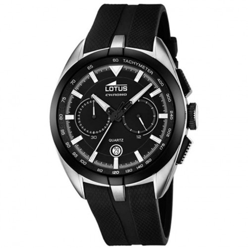 Lotus Chronograph man 18189/2 rubber watch strap black dial