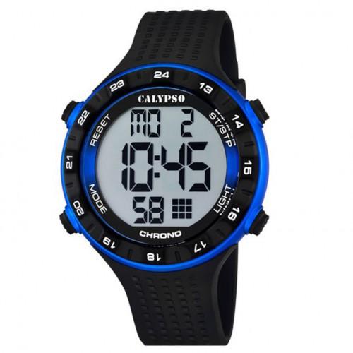 Calypso digital watch man K5663/2 black and blue diameter 50 mm