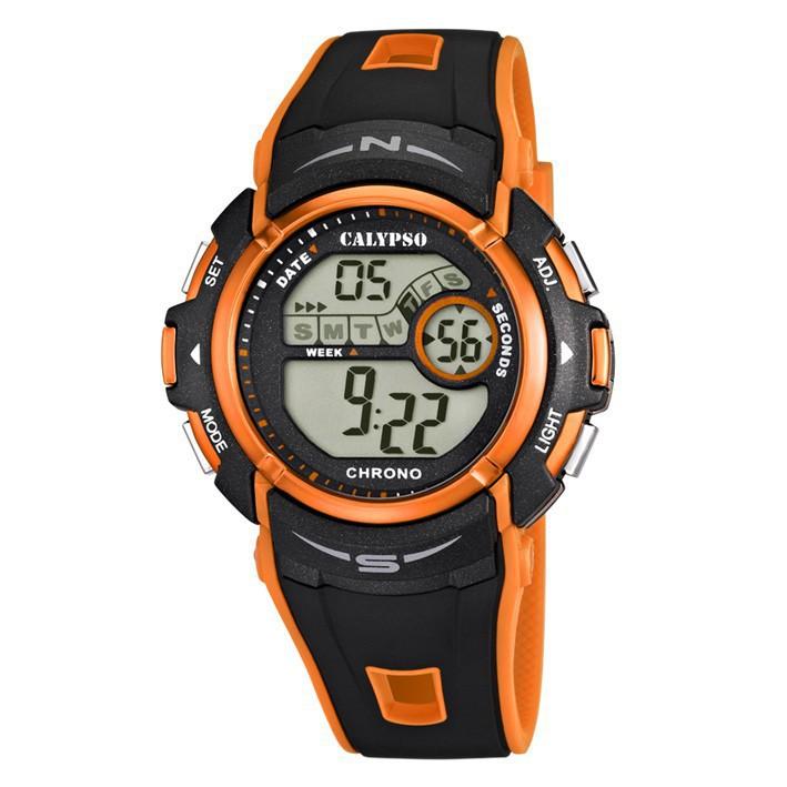8de360765476 Calypso K5610 7 reloj digital hombre correa caucho color negro y naranja