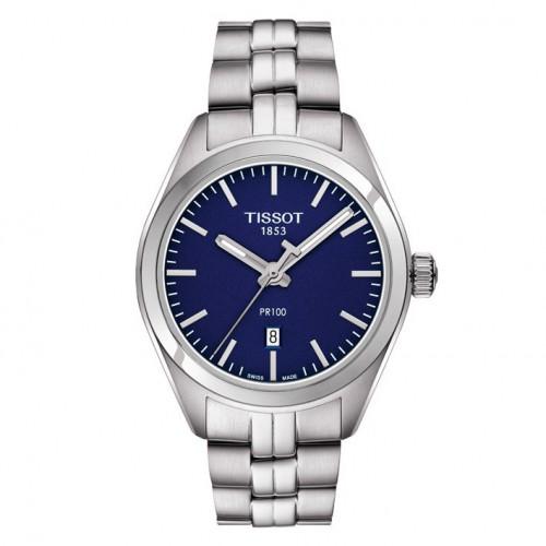 Woman blue watch sphere model Tissot PR 100 T1012101104100 steel bracelet