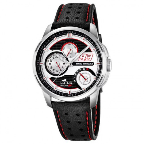 Multifunction watch collection Marc Marquez silver dial leather strap
