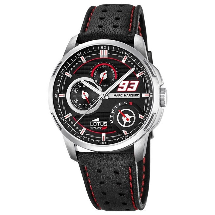 a51373e12675 Lotus multifunction watch collection Marc Marquez 18241/4 black dial  leather strap