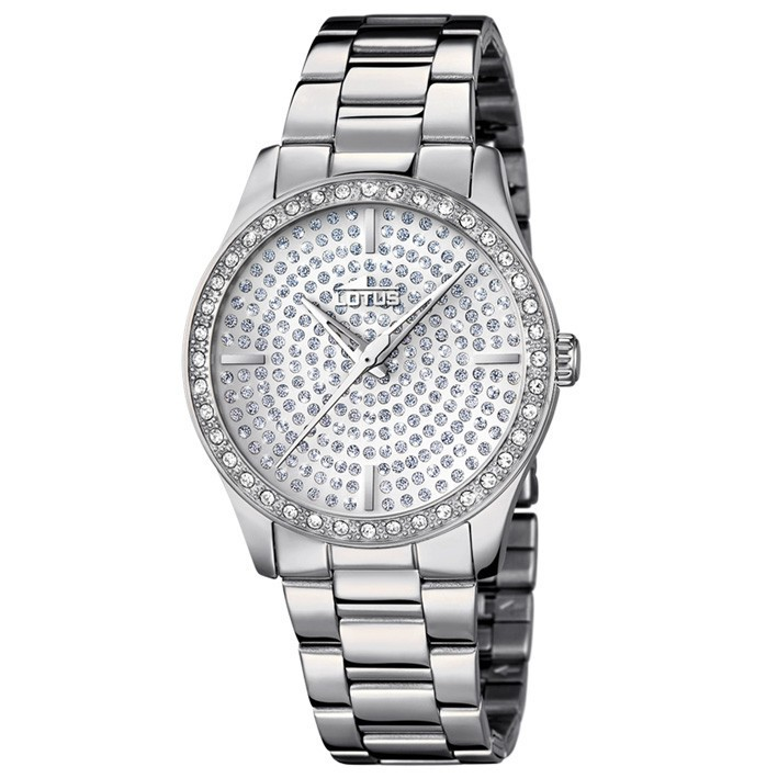 39513a0695ae Lotus Trendy reloj acero inoxidable pulido para mujer 18134 1 esfera  plateada con circonitas