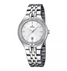 Festina woman watch silver dial F16867/1 zircons bezel