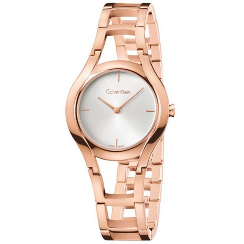 Calvin Klein Class with treatment rose gold silver dial K6R23626