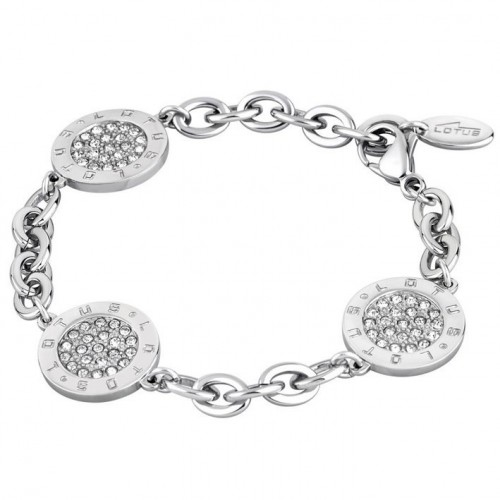 Lotus Style stainless steel bracelet with three pendants and stones LS1751-2/1