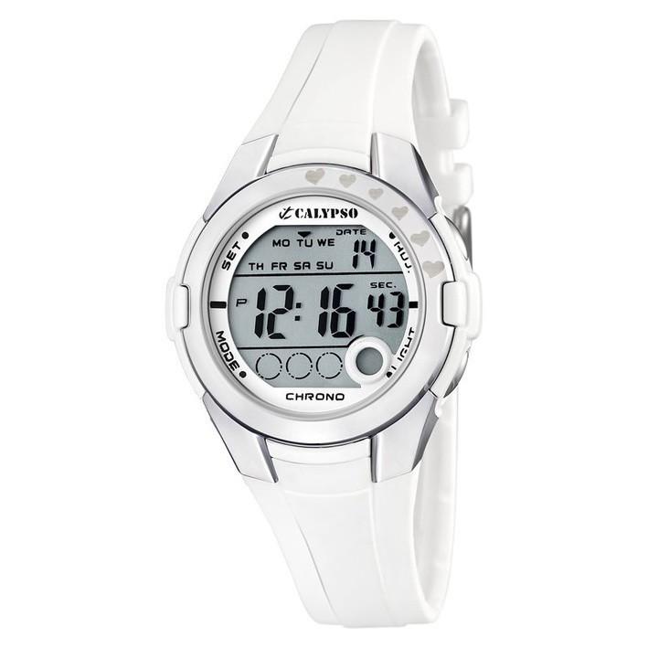 33a5ceb64dc8 Reloj digital para niña o mujer Calypso blanco correa de caucho K5571 1