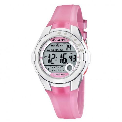 Calypso digital watch pink rubber strap. K5571/2 diameter 38 mm