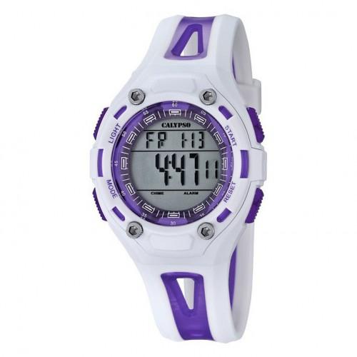 Calypso watch K5666/2 womens white and purple water resistan