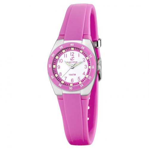Calypso watch with Arabic numerals pink rubber strap K6043/C