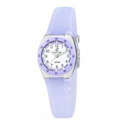 Calypso K6043/E lilac rubber strap watch with Arabic numerals