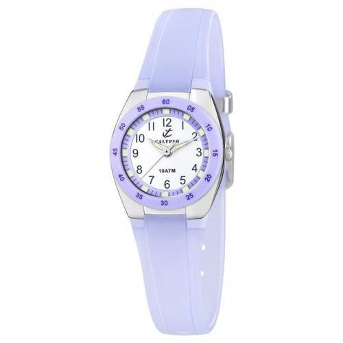 Calypso K6043/E purple rubber strap watch with Arabic numerals