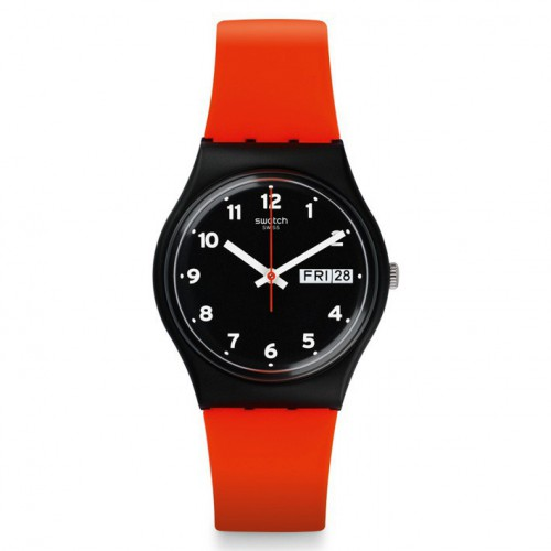 Grin Red watch Swatch GB754 black with numbers silicone strap