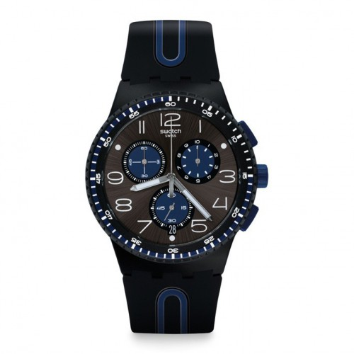 Plastic Swatch chronograph Kaicco watch blue and black color SUSB 406