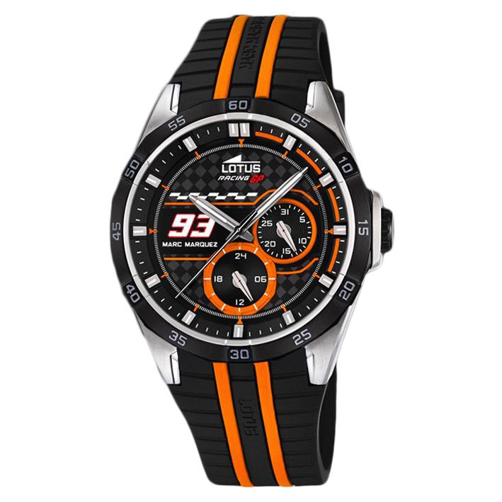 lotus multifunction watch 18259 1 marc marquez collection black and orange sphere. Black Bedroom Furniture Sets. Home Design Ideas