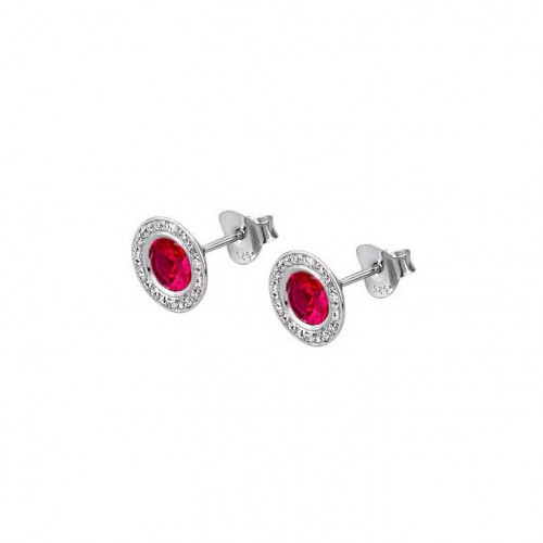 Lotus Silver earrings Together zircons ruby red. LP1702-4/3