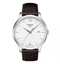 Tissot Tradition leather strap white dial T0636101603700