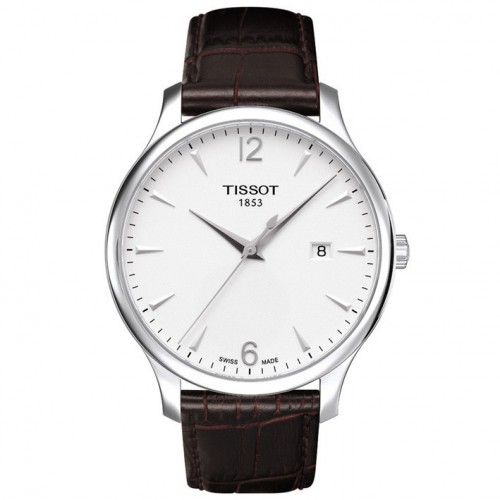 Tissot T-Tradition leather strap white dial T0636101603700