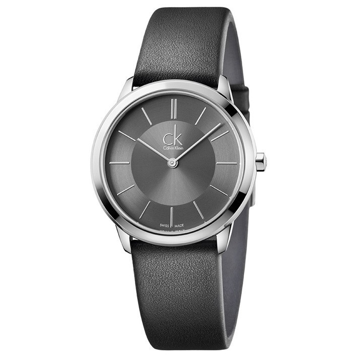 07f9dea36c9a Calvin Klein Minimal Watch woman black leather strap K3M221C4