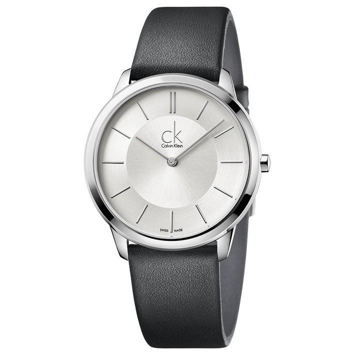 fe3d8a3d78a5 Reloj Calvin Klein Minimal hombre correa negra esfera plata K3M211C6