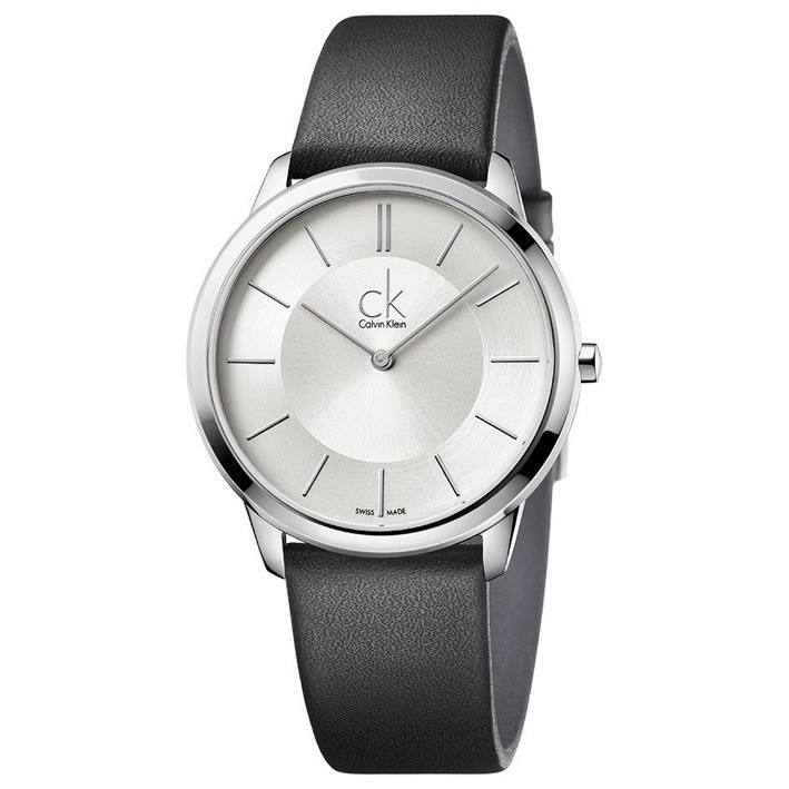 f7d4ec465c7e Reloj Calvin Klein Minimal hombre correa negra esfera plata K3M211C6