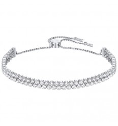 Subtle Swarovski bracelet 5221397 two rows of transparent stones