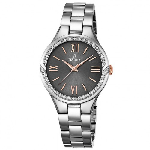 Festina mademoiselle F16916/2 polished stainless steel black dial