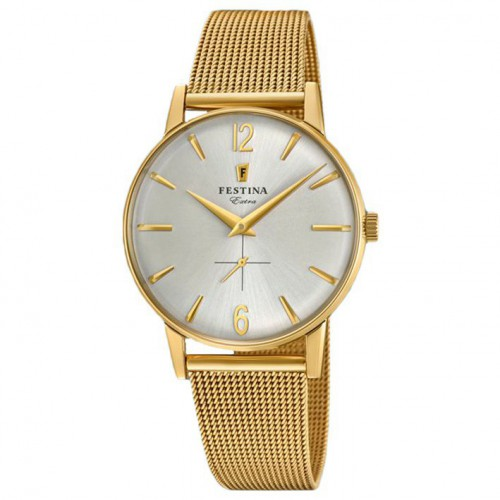 Extra Festina watch silver dial gold plated yellow milanese bracelet F20253/1
