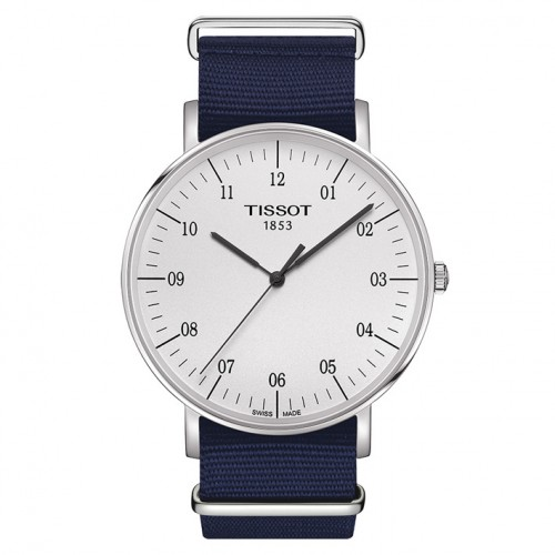 Tissot Watch Everytime T1096101703700 white dial blue textile strap