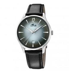 bf71d3342a27 Reloj Lotus Revival calendario 18402 4 hombre correa de piel negra esfera  gris ...