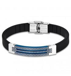 Bracelet for Men Lotus Style LS1797-2/2 rubber and details in blue