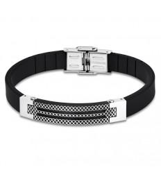 Bracelet for Men Lotus Style LS1797-2/4 rubber and details in black