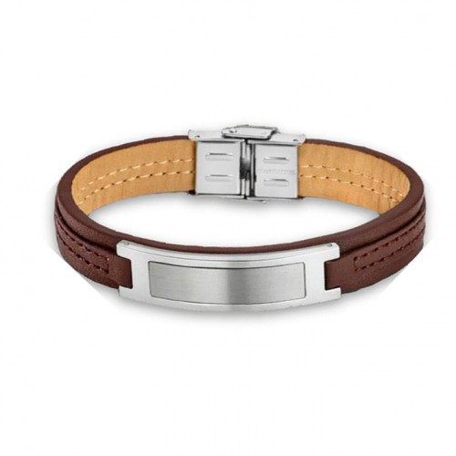 Bracelet for Men Lotus Style LS1808-2/1 made of brown leather