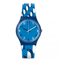 69/5000 Swatch watch IGINO GN246 blue strap with penguins dial with numbers