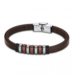 Bracelet for Men Lotus Style LS1827-2/3 of leather and details brown