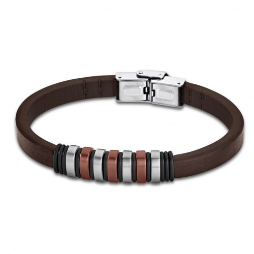 Bracelet for Men Lotus Style LS1827-2/3 of rubber and details brown
