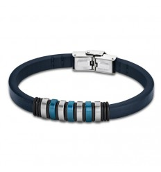 Bracelet for Men Lotus Style LS1827-2/2 of leather and details in blue