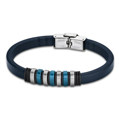 Bracelet for Men Lotus Style LS1827-2/2 of rubber and details in blue