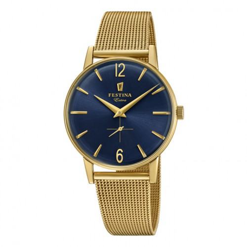 Extra Festina F20253/2 watch blue dial gold plated yellow milanese bracelet