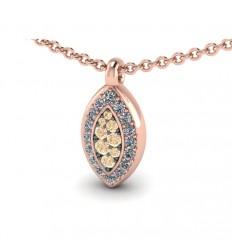 18 carat pink gold pendant, 16 white diamonds, 8 brown diamonds. C2714