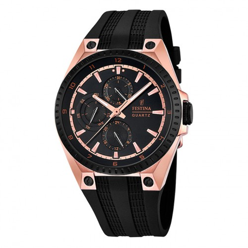 Festina multifunction F16835/1 rubber strap watch case pink color