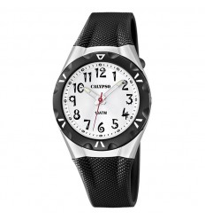 Calypso watch Rubber strap with silver dial with numbers K6064/2