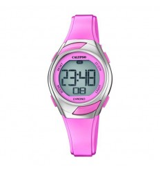 Calypso watch in pink woman or girl digital rubber strap K5738/2